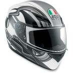White/Gunmetal Chicane K3 Series Helmet - 03215290016009