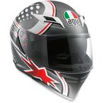 White/Gunmetal/Red Skyline Psycho Helmet - 1401O2D0006005
