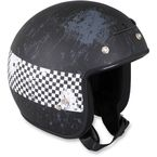 Black Jimmy Distressed Checker Helmet - 0104-1425