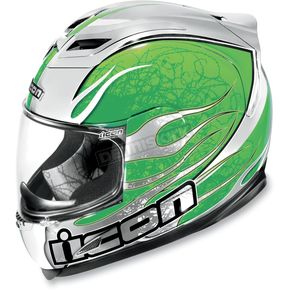 Icon Green Airframe Claymore Chrome Helmet - 0101-3921