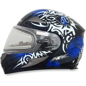 AFX Blue FX-90SE Danger Helmet w/Electric Dual Lens Shield - 0121-0554