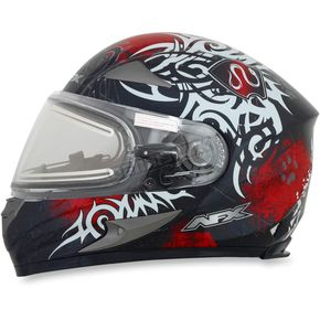 AFX Red FX-90SE Danger Helmet w/Electric Dual Lens Shield - 0121-0558