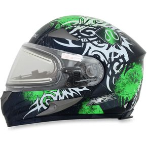 AFX Green FX-90SE Danger Helmet w/Electric Dual Lens Shield - 0121-0564