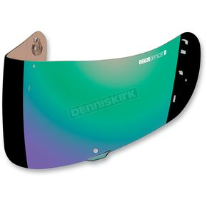 Icon Mirror Green Fog-Free Con Optics Shield for Airmada/Airframe Pro Helmets - 0130-0480