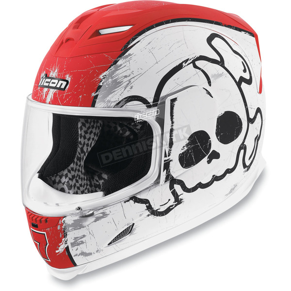 Icon Red/White Airframe Crossbones Helmet - 0101-3693