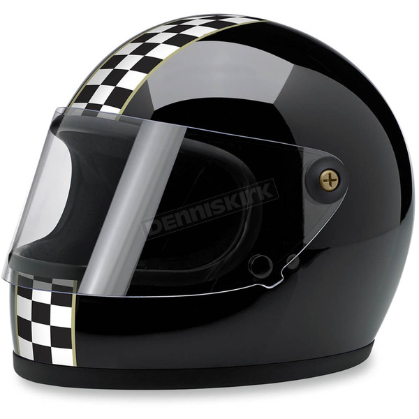 Biltwell Black Gringo S Checkers Helmet - GS-BLK-CHK-MD