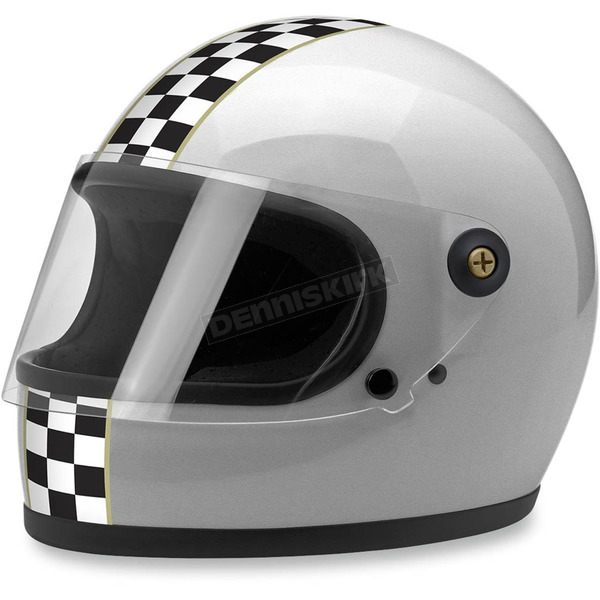 Biltwell Silver Gringo S Checkers Helmet - GS-SIL-CHK-MD
