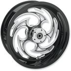 Rear Black 17 x 6.25 Savage Eclipse One-Piece Wheel for OEM Pulley - 17625-9210-85E