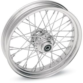 Drag Specialties Chrome Rear 17 x 6 40-Spoke Laced Wheel Assembly  - 0204-0348