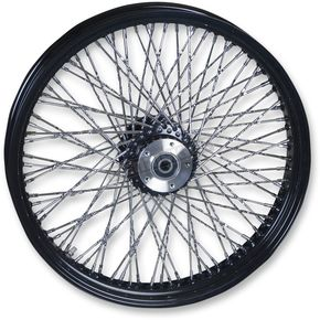 Paughco 21 in. x 3.25 in. Black 80-Spoke Front Wheel Assembly w/Twisted Spokes - 16120