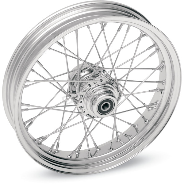 Drag Specialties Chrome 19 x 2.15 40-Spoke Laced Wheel Assembly for Single or Dual Disc - 0203-0081