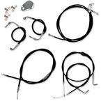 Black Vinyl Handlebar Cable and Brake Line Kit for Use w/15 in. - 17 in. Ape Hangers w/ABS - LA-8051KT-16B