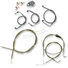 LA Choppers Stainless Braided Handlebar Cable and Brake Line Kit for Use w/18 in. - 20 in. Ape Hangers - LA-8200KT-19