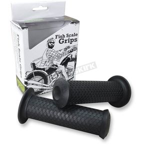 Lowbrow Customs Black 1 in. Fish Scale Grips - 002630