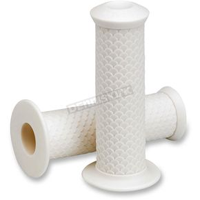 Lowbrow Customs White 1 in. Fish Scale Grips - 002632