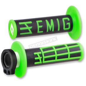 ODI Black/Green Emig V2 Lock-On Grips - H34EMBN