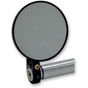 Joker Machine Black Round Bar End Mirror w/ Straight Stem - 09-313-DB