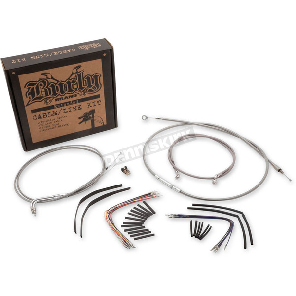 Stainless Steel Handlebar Cable and Brake Line Kit for 14 in. w/o ABS - B30-1049