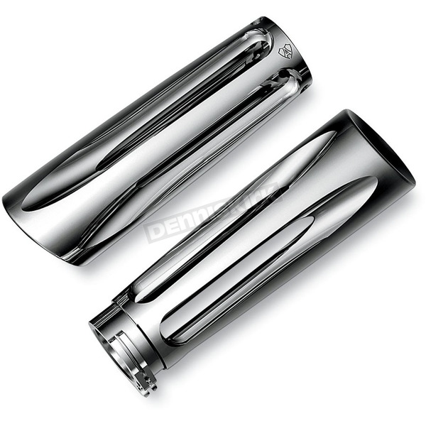 Arlen Ness Ness-Tech Deep Cut Chrome Grips for 1 in. Handlebars - 07-242