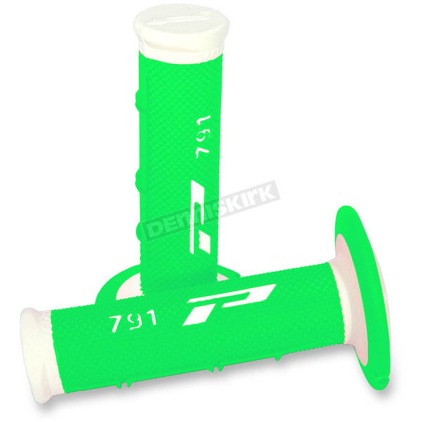 Pro Grip White/Fluorescent Green 791 Triple Density Grips - 791WHFLGN