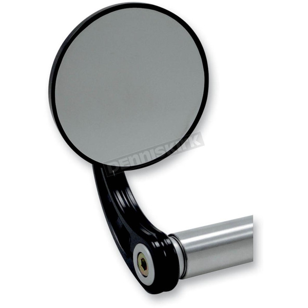 Joker Machine Black Round Bar End Mirror w/ Curved Stem - 09-313-CB
