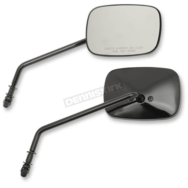 Drag Specialties Black Long Stem OEM-Style Rectangular Mirrors - 0640-0983
