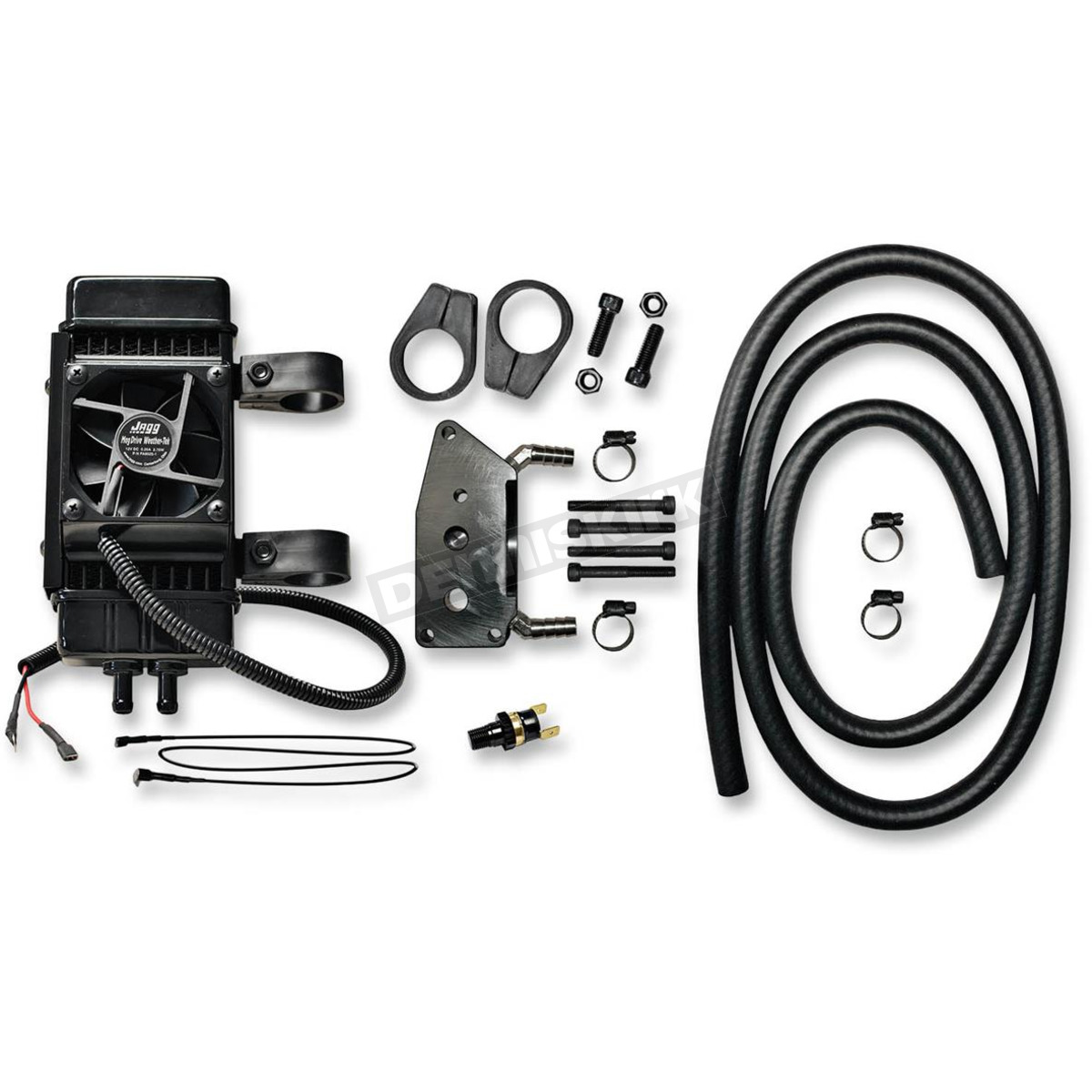 jagg gloss black 10-row vertical frame-mount fan-assisted oil cooler kit
