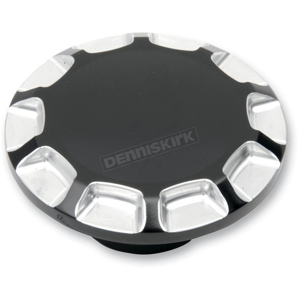 Drag Specialties Gloss Black Vented Straight-Cut Gas Cap - 0703-0389