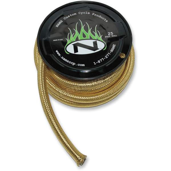 NAMZ Custom Cycle Products 3/8 in. ID Braided Brass Oil Line - NBH-2503