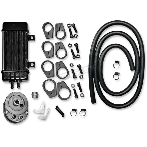 Jagg WideLine Chrome 10-Row Vertical Frame-Mount Oil Cooler Kit  - 750-2080