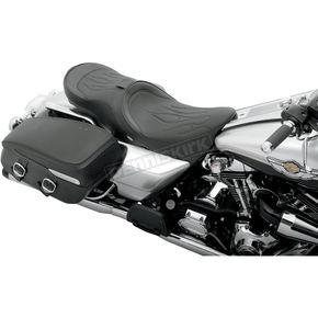 Drag Specialties Low-Profile Flame Stitch Touring Seat w/Backrest - 0801-0482