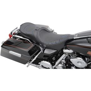 Drag Specialties Low-Profile Touring Seat w/EZ Glide Backrest & Blue Pinstripe - 08010524