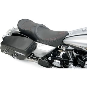 Drag Specialties Low-Profile Touring Seat w/EZ Glide Backrest & Red Pinstripe - 0801-0528