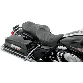 Drag Specialties Flame Stitch Low-Profile Touring Seat w/EZ Glide Backrest - 0801-0536