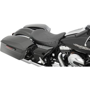 Drag Specialties Black Flame Stitch Low-Profile Solo Seat - 0801-0871