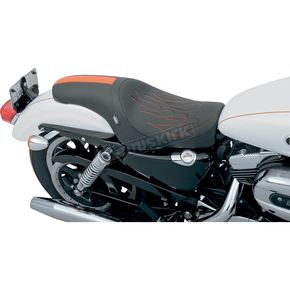 Drag Specialties Predator Solo Seat w/Orange Flame and GT Stripe - 0804-0400
