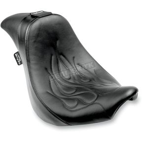 Danny Gray Seats Flames Stitched Short Hop 2-Up XL with Driver Backrest Receptacle - YMC-619-01F