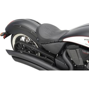 Drag Specialties Black Flame Stitch Low-Profile Solo Seat  - 0810-1600