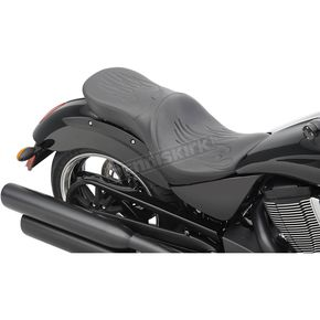 Drag Specialties Black Flame Stitch Low-Profile Touring Seat  - 0810-1608