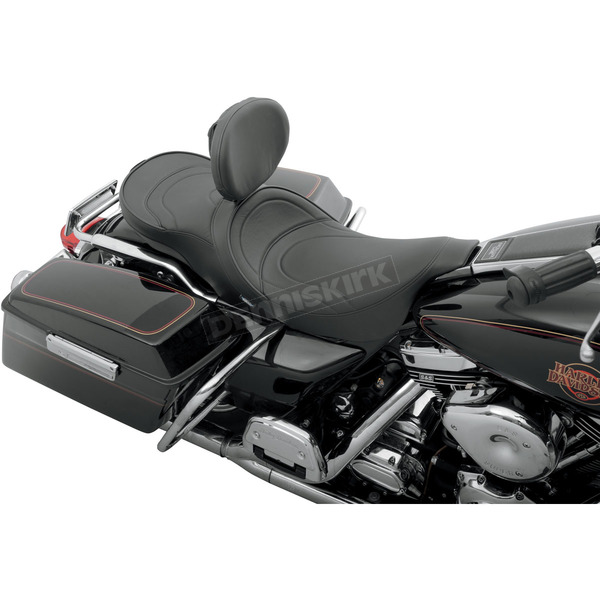 Drag Specialties Low-Profile Mild Stitch Touring Seat w/Backrest - 0801-0479
