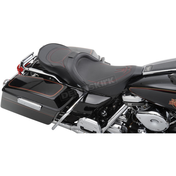 Drag Specialties Low-Profile Touring Seat w/EZ Glide Backrest & Red Pinstripe - 0801-0525