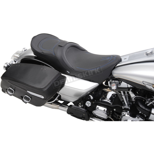 Drag Specialties Low-Profile Touring Seat w/EZ Glide Backrest & Blue Pinstripe - 0801-0527