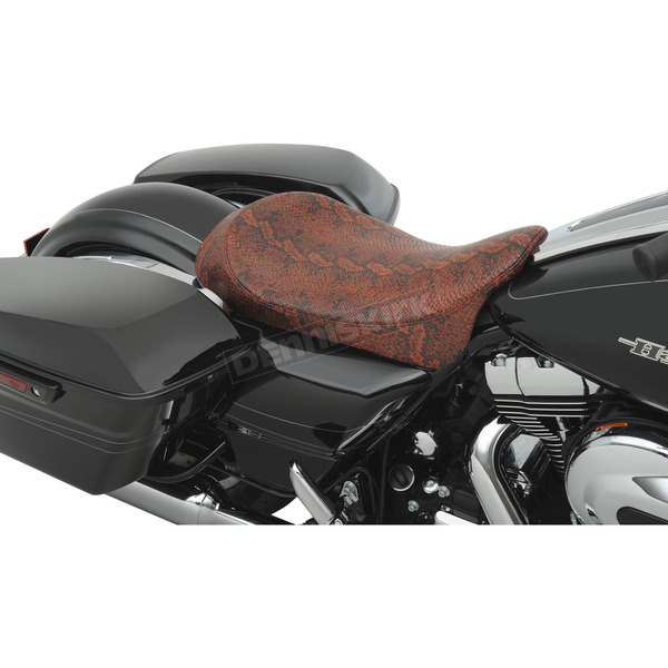 Drag Specialties Red Faux Python Low-Profile Solo Seat - 0801-0876