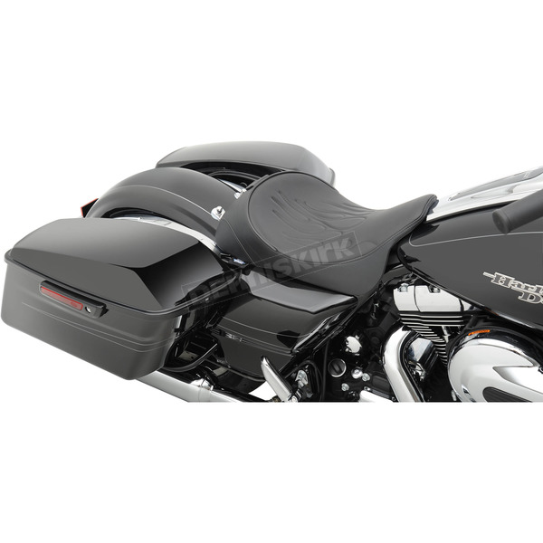 Drag Specialties Black Flame Stitch Solo Seat w/EZ Glide Backrest Option - 0801-0887