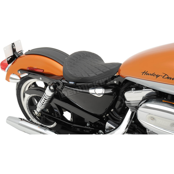 Drag Specialties Black Diamond Stitch Bobber Style Low Solo Seat - 0804-0533