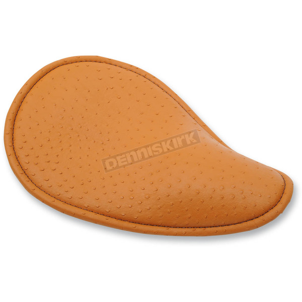 Drag Specialties Brown Faux Ostrich Small Low-Profile Spring Solo Seat w/Brown Perimeter Stitch - 0806-0086