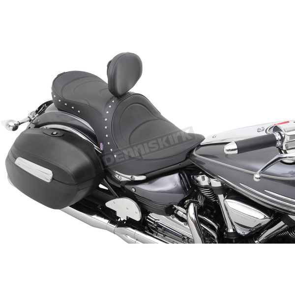 Parts Unlimited Mild Stitch w/Studs Low-Profile Double-Bucket Seat with Backrest - 0810-0754