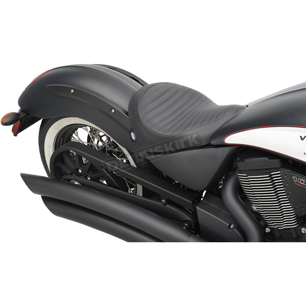 Drag Specialties Black Classic Stitch Low-Profile Solo Seat  - 0810-1602