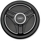 Wrinkle Black Powder-Coat Tri-Spoke Stealth Air Cleaner Cover - 170-0210