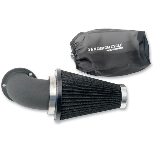 D & M Custom Cycle Ultimate Flow Air Cleaner Kit w/Wrinkle Black Elbow - DM-432-WR